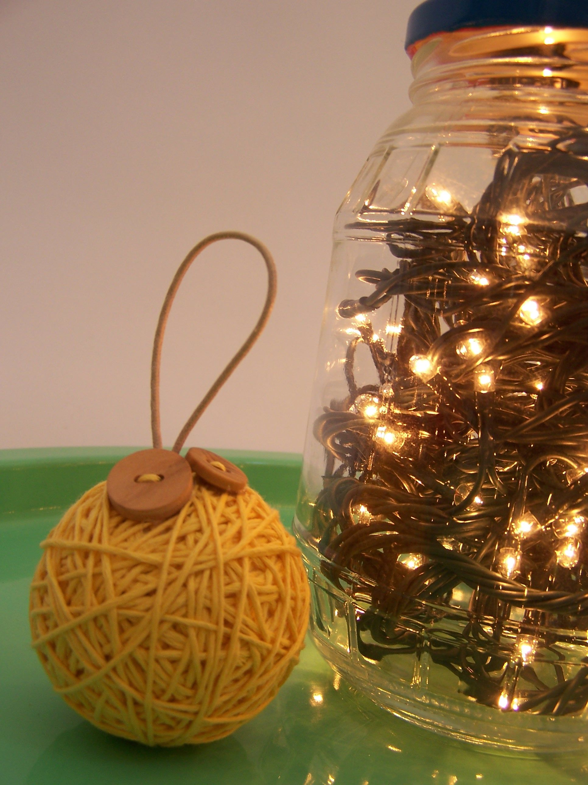 Wool and buttons hanging balls are a perfect addition at christmas
