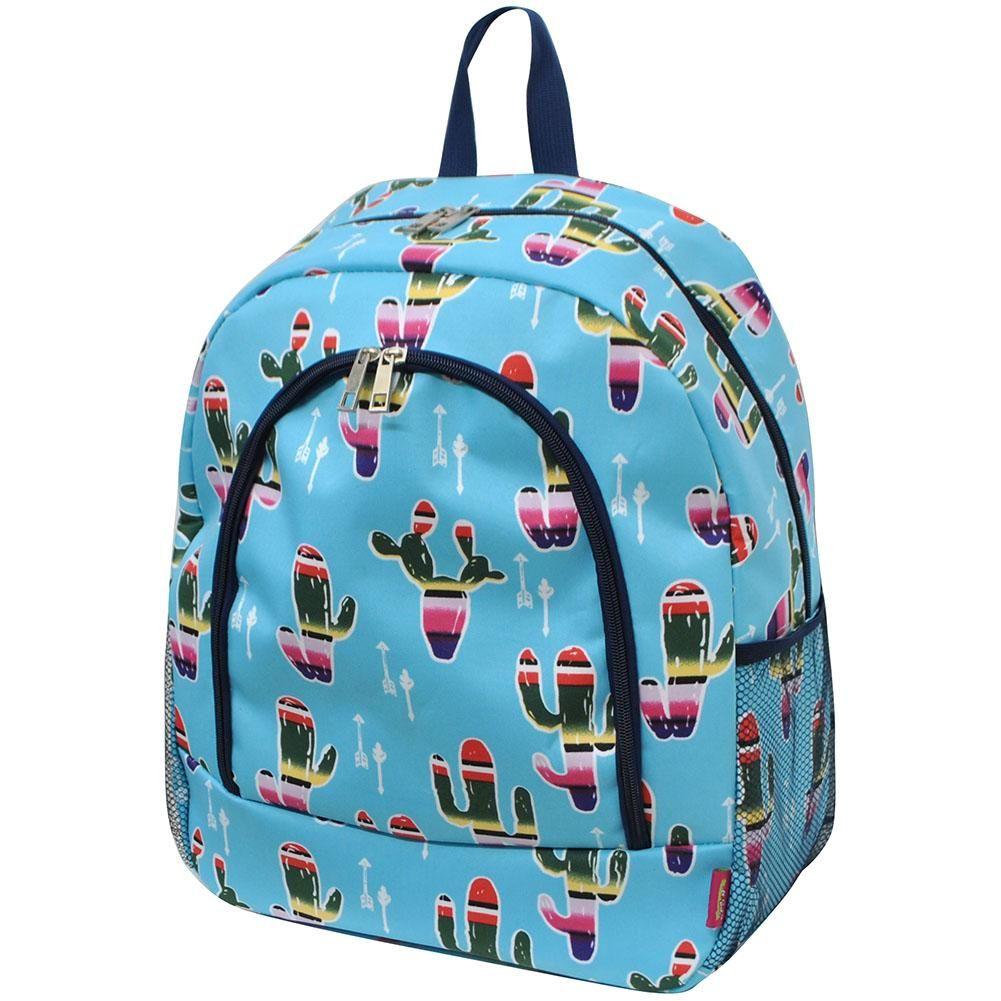 90f49680431f American Serape Cactus Print School Backpack-Aq Cactus sarape, Tote ...
