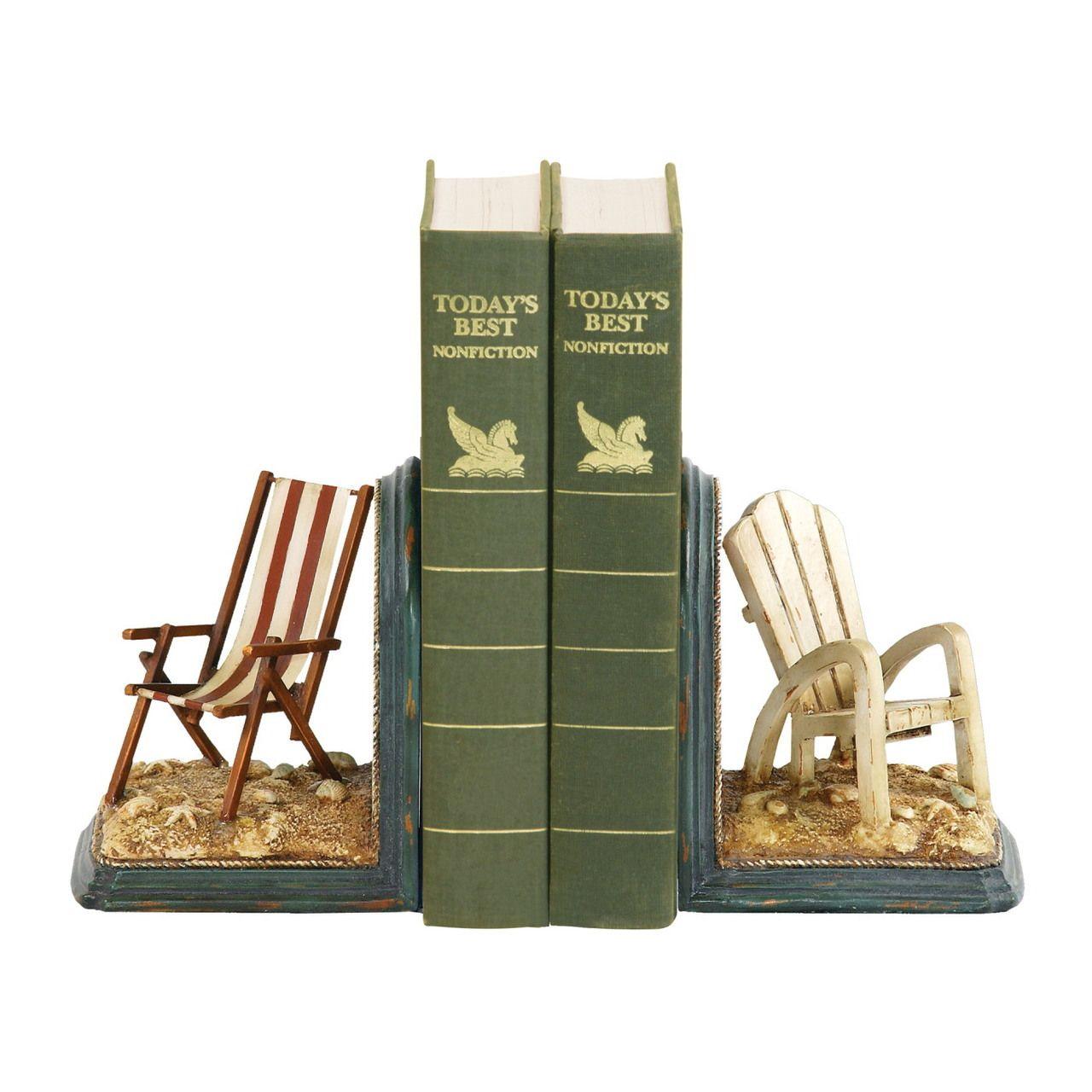 Beach Chair Bookends - cute idea for beach cottage bookshelf