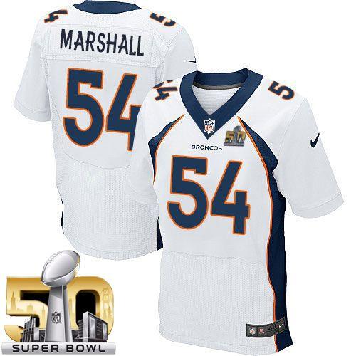6cc1f055ca5 Nike Broncos #54 Brandon Marshall White Super Bowl 50 Men's Stitched NFL  New Elite Jersey