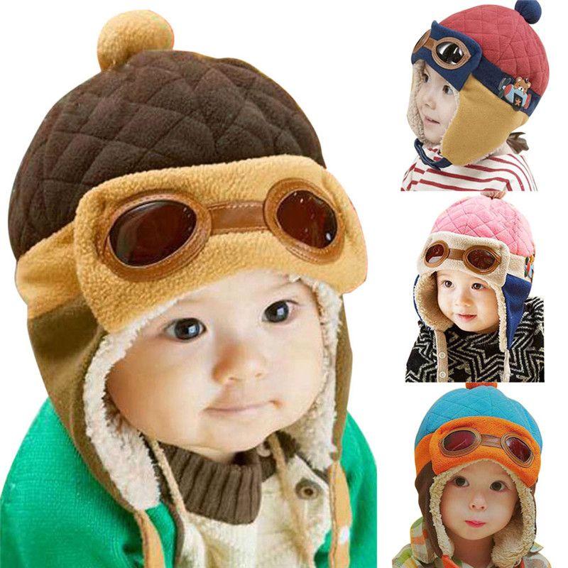 Winter Baby Toddlers Girl Boy Kids Child Pilot Aviator Cap Warm Soft Beanie Hat