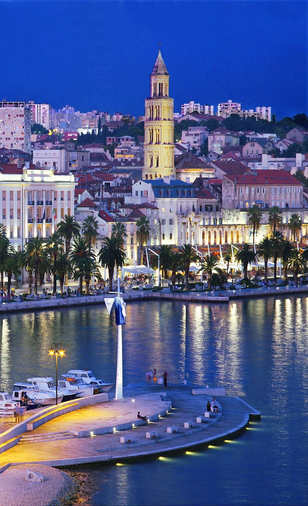 Split waterfront with the bell tower of St Dominius.