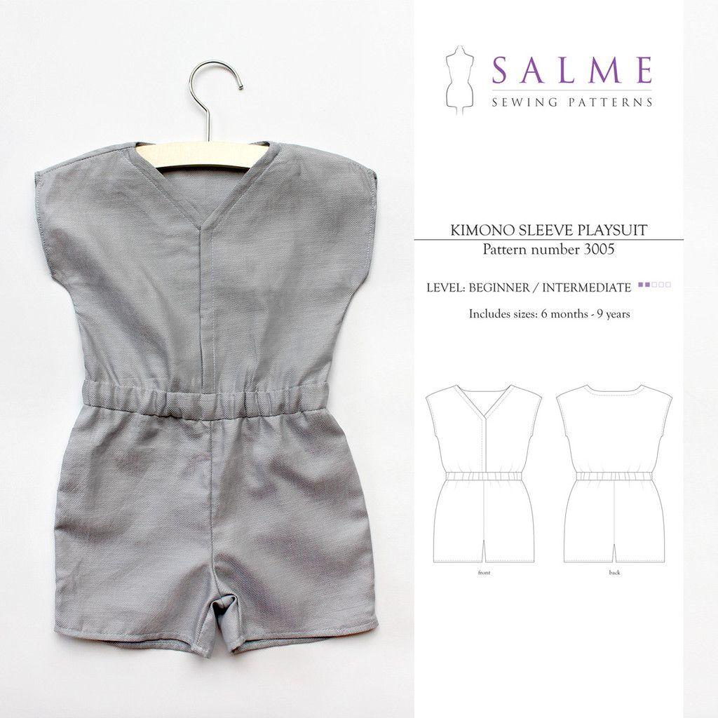 Digital Sewing Pattern - Kimono Sleeve Playsuit for kids girls | diy ...