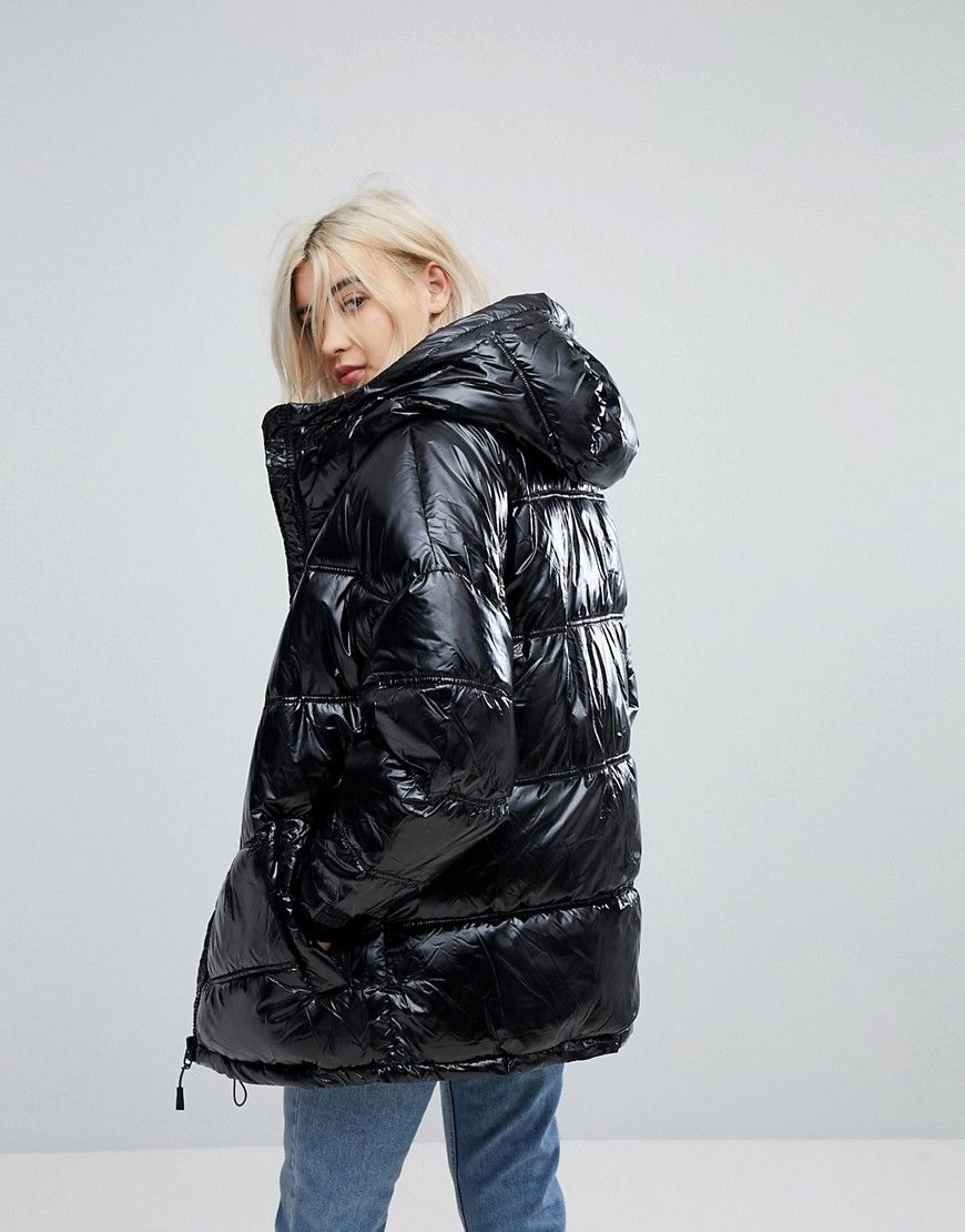 pull bear black puffer ski jacket black glanznylon. Black Bedroom Furniture Sets. Home Design Ideas