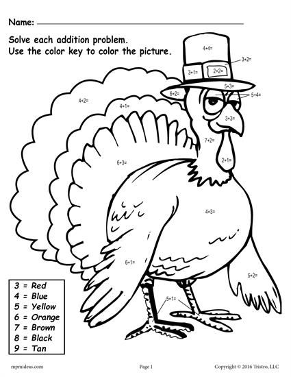 color by number turkey free printable