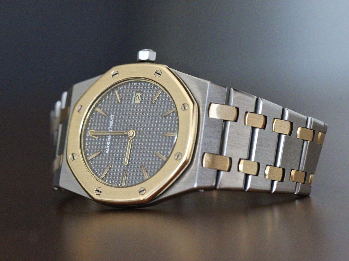Audemar Piguet Royal Oak Ultra Thin Watch Date 33mm Yellow Gold Steel Grey Dial Thin Watches Piguet Royal Oak