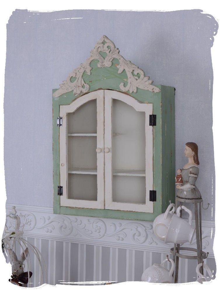 Elegant Wandschrank Landhausstil Schrank Wandboard Shabby Chic H ngevitrine
