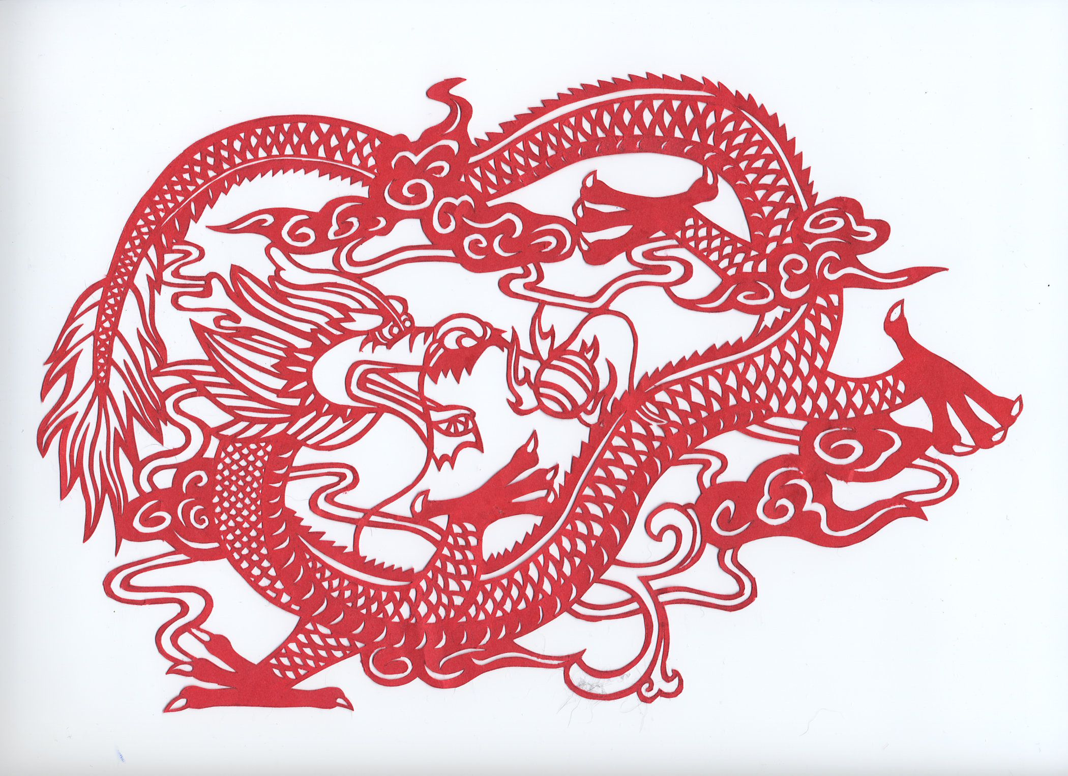 i cut this chinese dragon out of red construction paper with an