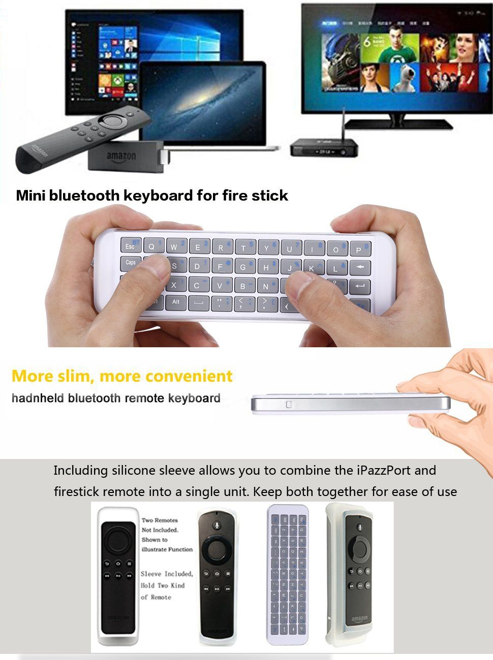 Amazon Com Ipazzport Mini Bluetooth Keyboard For Fire Tv Stick With Qwerty To Type And Search Kp 810 30b Computers Acce Fire Tv Stick Amazon Remote Fire Tv