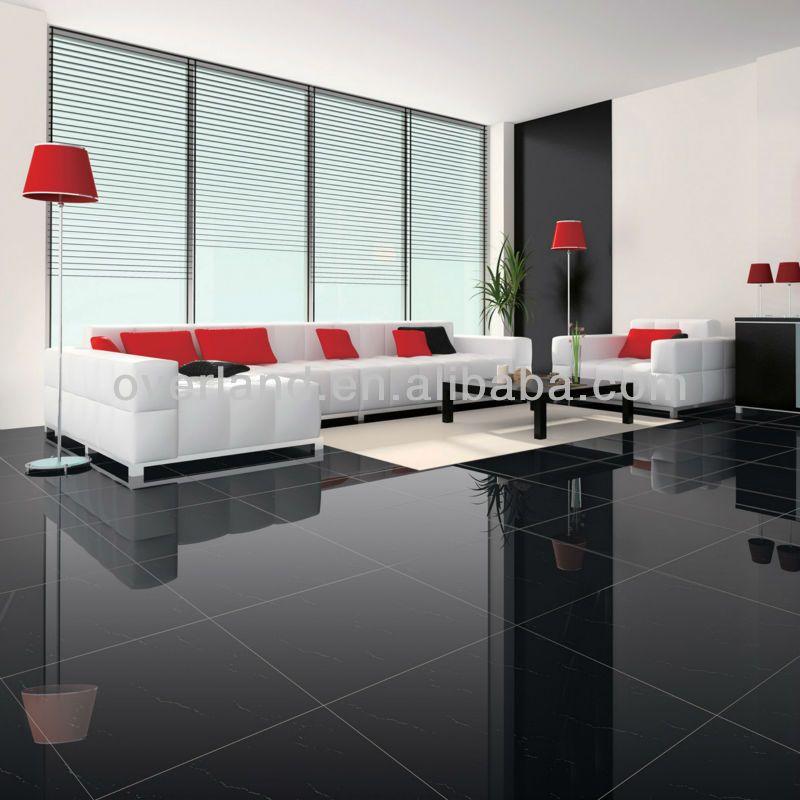 Piso de baldosas de cer mica 600x600 te negro imagen for Tipos de ceramicas para pisos interiores