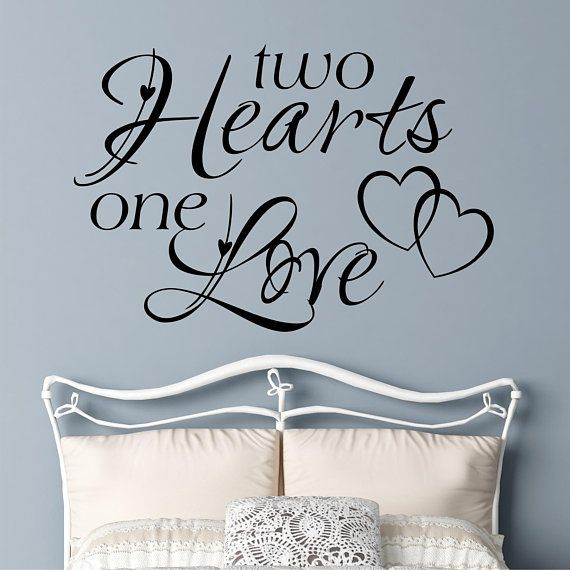 two hearts one love quote, vinyl wall lettering, vinyl wall decals