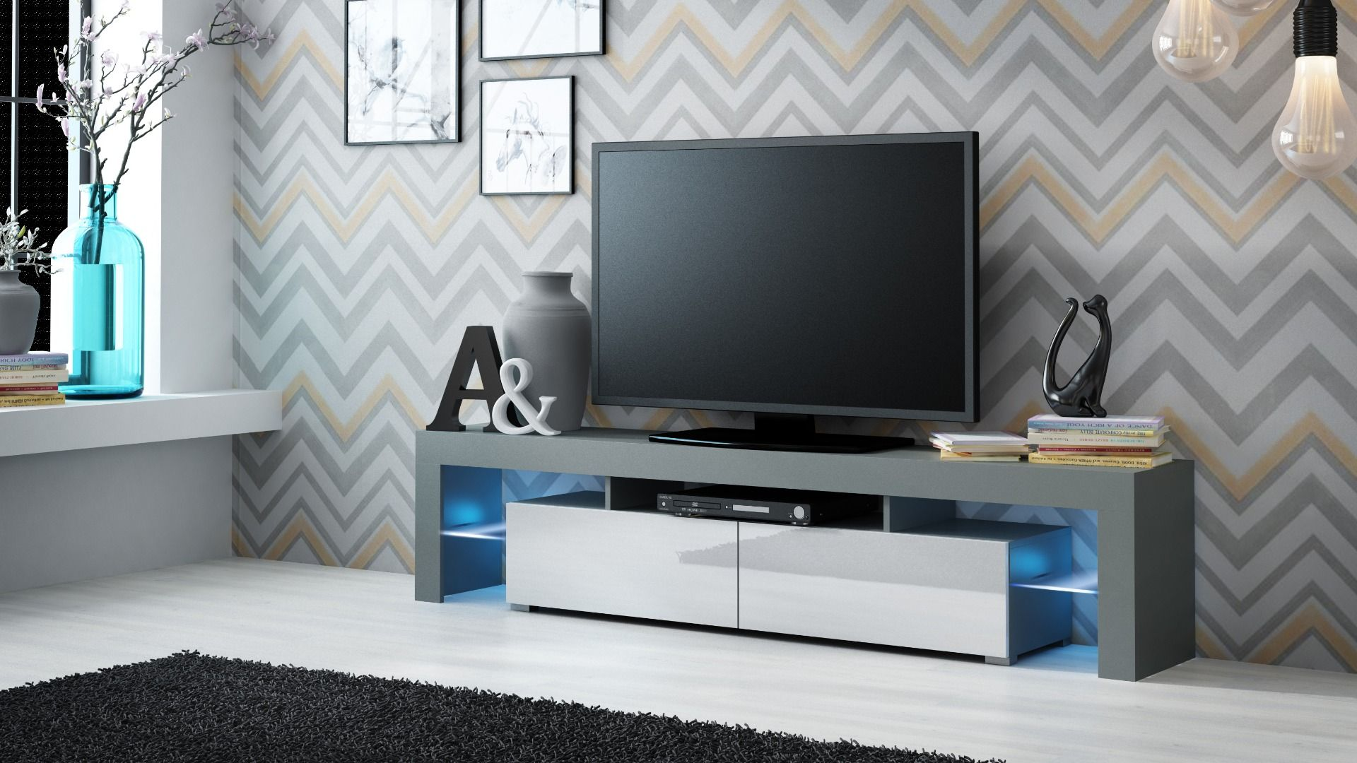 Tv Kastje Meubel.Milano 200 Grey Tv Stands Glazen Planken En Meubels