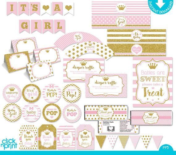 Pink and Gold Glitter Baby Shower Print Yourself Party Package - baby shower template word