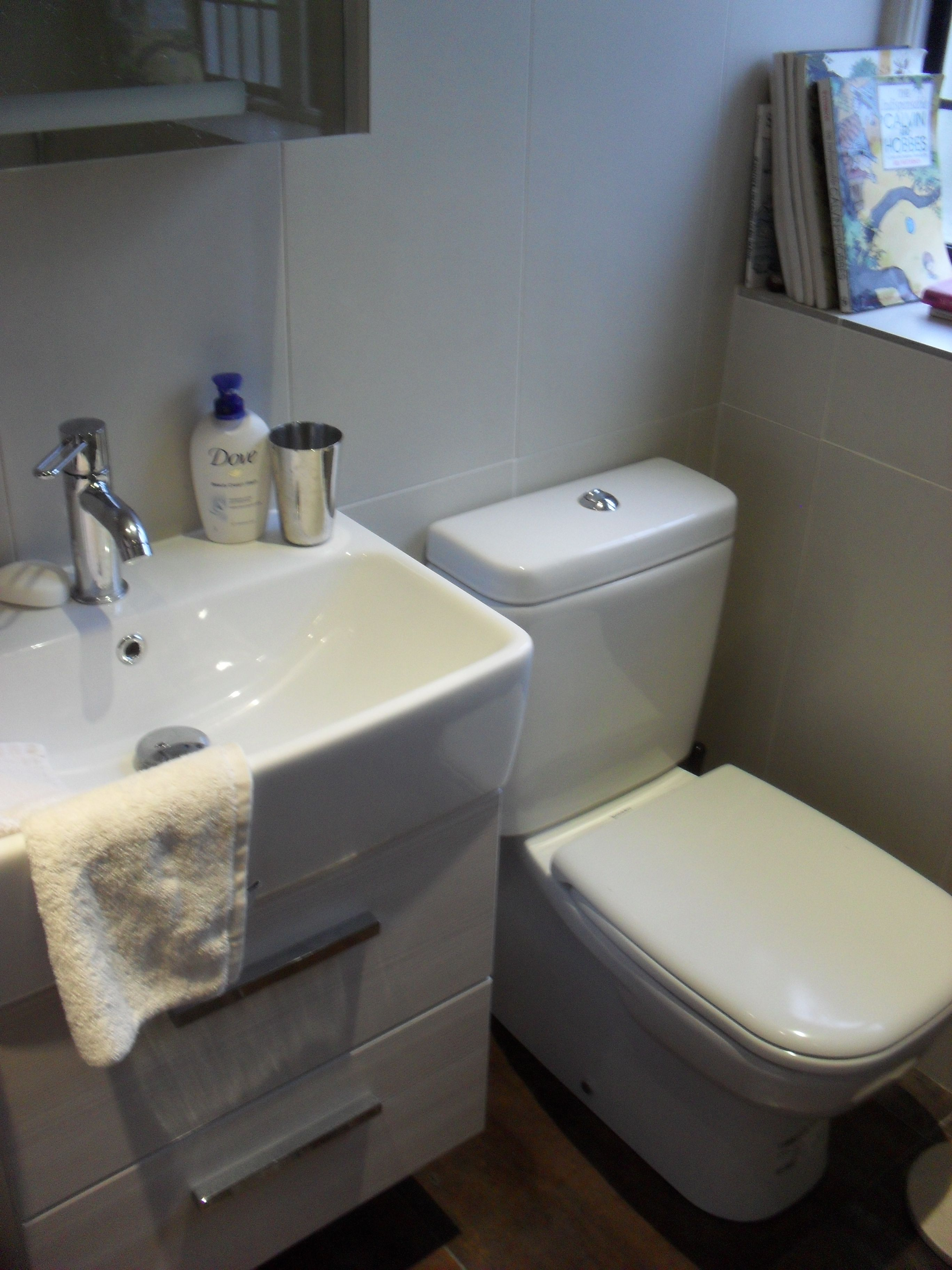 Duravit D Code WC suite with Dansani Poco basin & vanity fitted with Axor Uno2