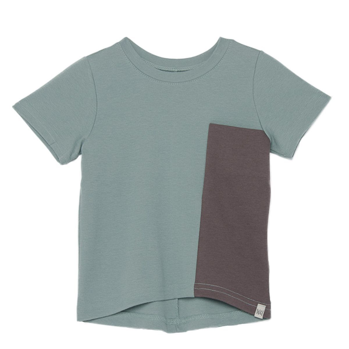 Short Sleeve Drop Back Shirt with Contrast Pocket in Seaport Blue