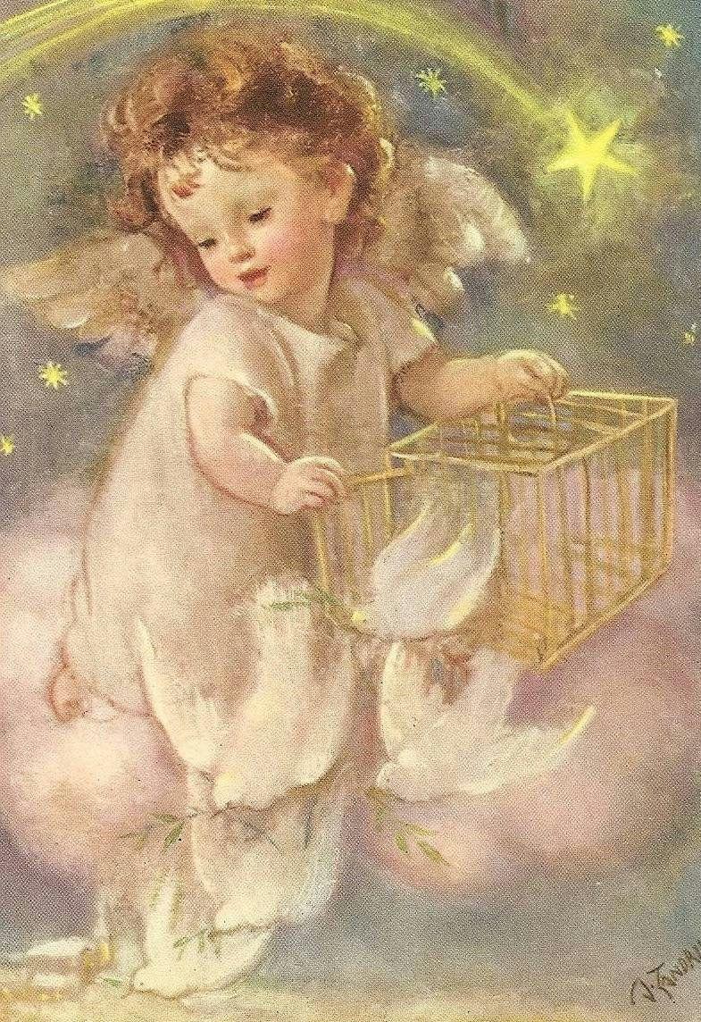рождественские картинки с ангелами для декупажа