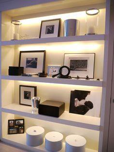 led strip lighting behind shelves  Google Search  Little House