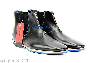 official images buy real size 7 HUGO BOSS RED LABEL NERIM BLACK LEATHER BOOTS SHOES BLUE ...
