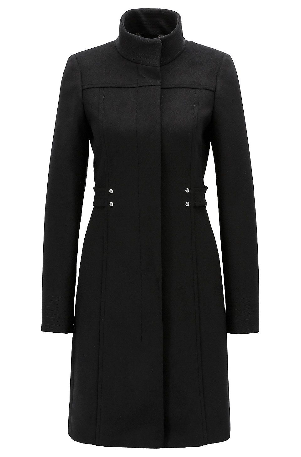 Virgin Wool Blend Coat With Hardware Trimmed Belt Detail Black Jackets And Coats From Boss For Women For 399 00 In The Official Hugo Moda Sukienki Plaszcze
