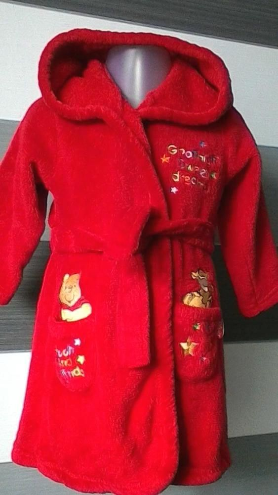 Baby Red Hooded Dressing Gown Robe Disney Winnie the Pooh 6-9 months ...