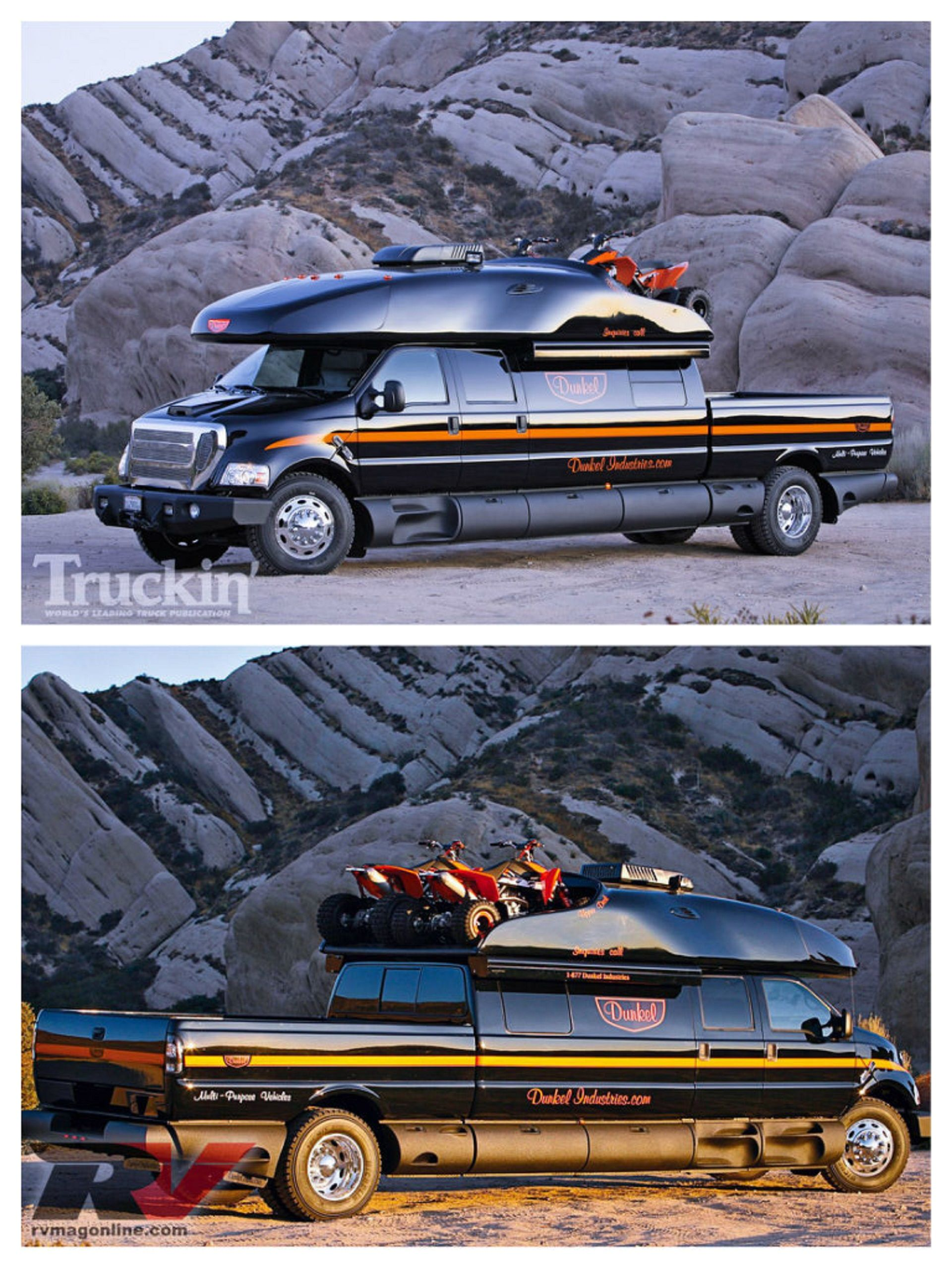 dunkel industries luxury ford f-650 4x4 expedition truck. http