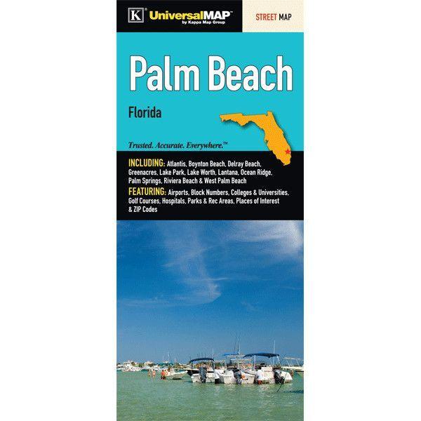 Palm Beach Florida Fold Map Set of 2