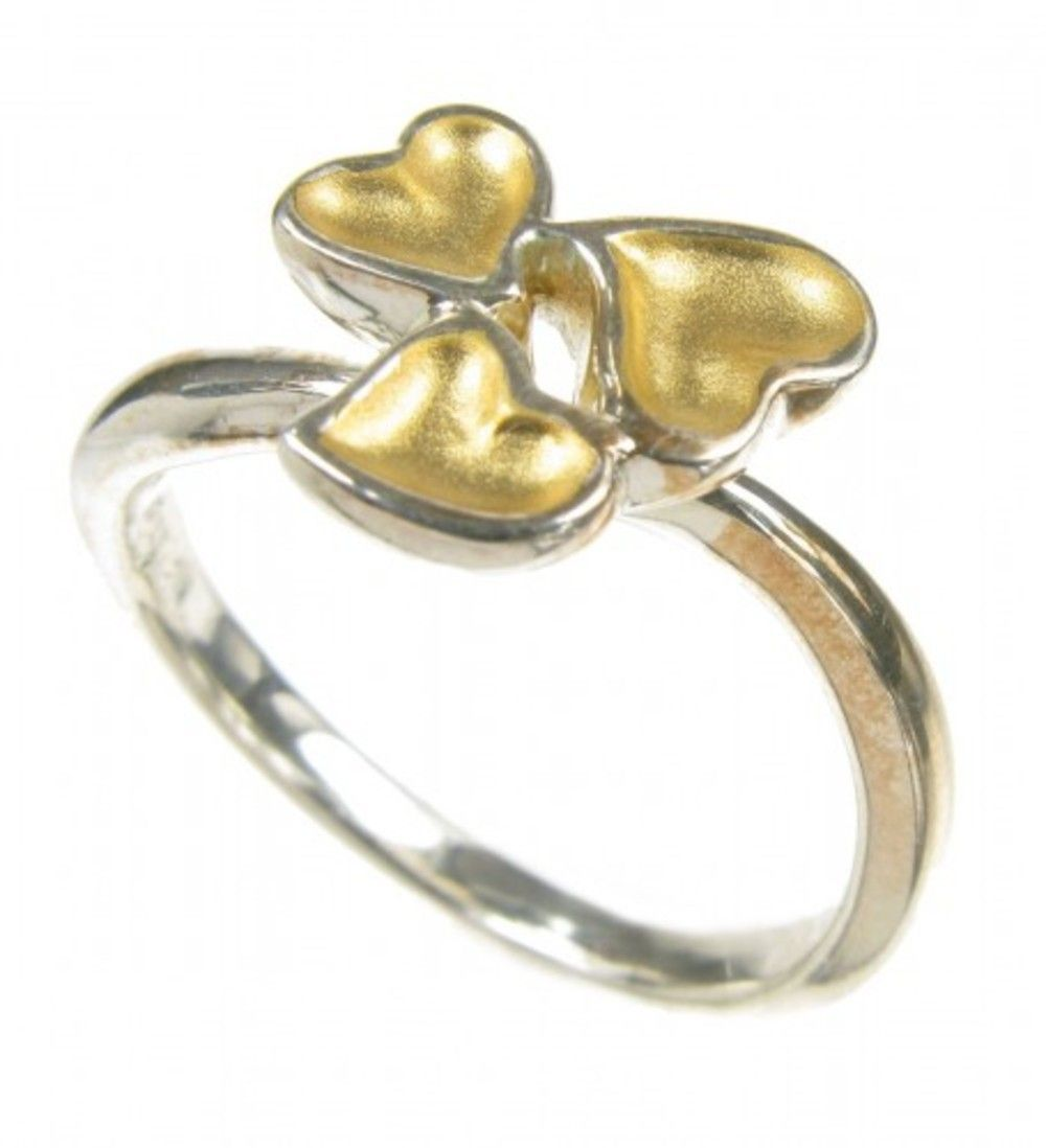 Silver and Gold Vermeil Heart Cluster Ring JewelStreet - The Jewellery Marketplace