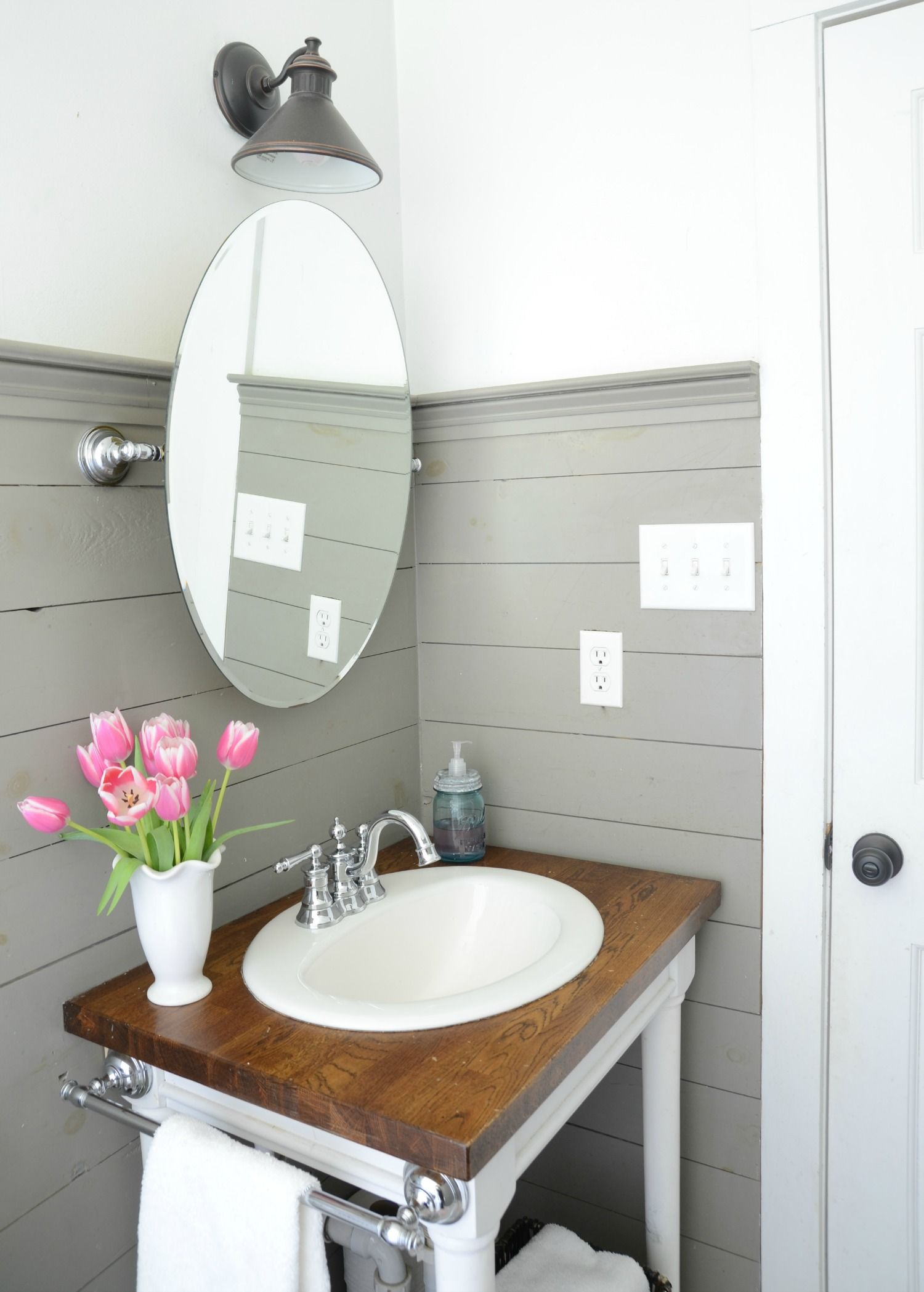 Farmhouse Bathroom Refresh   DIY Shiplap And Building Your Own Vanity