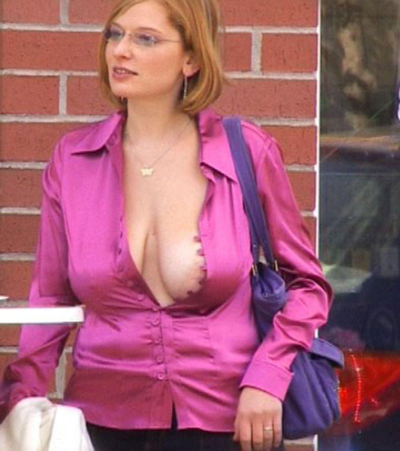 Perfect tits in open blouse