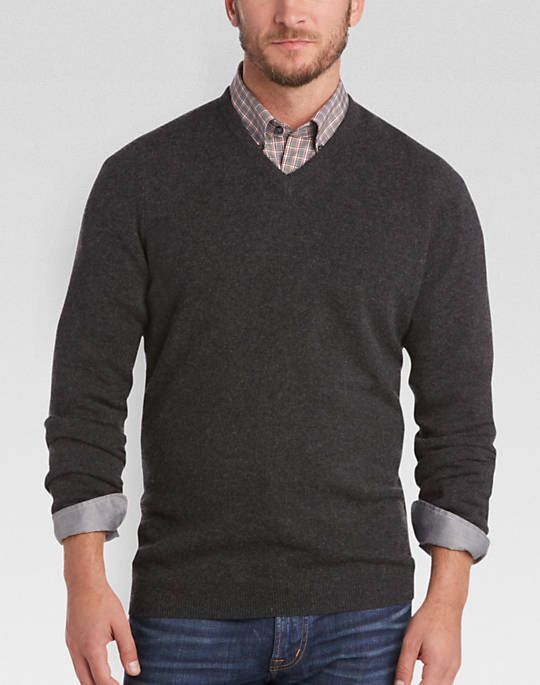 4ebeba4c00794 Joseph Abboud Charcoal Modern Fit V-Neck Cashmere Sweater