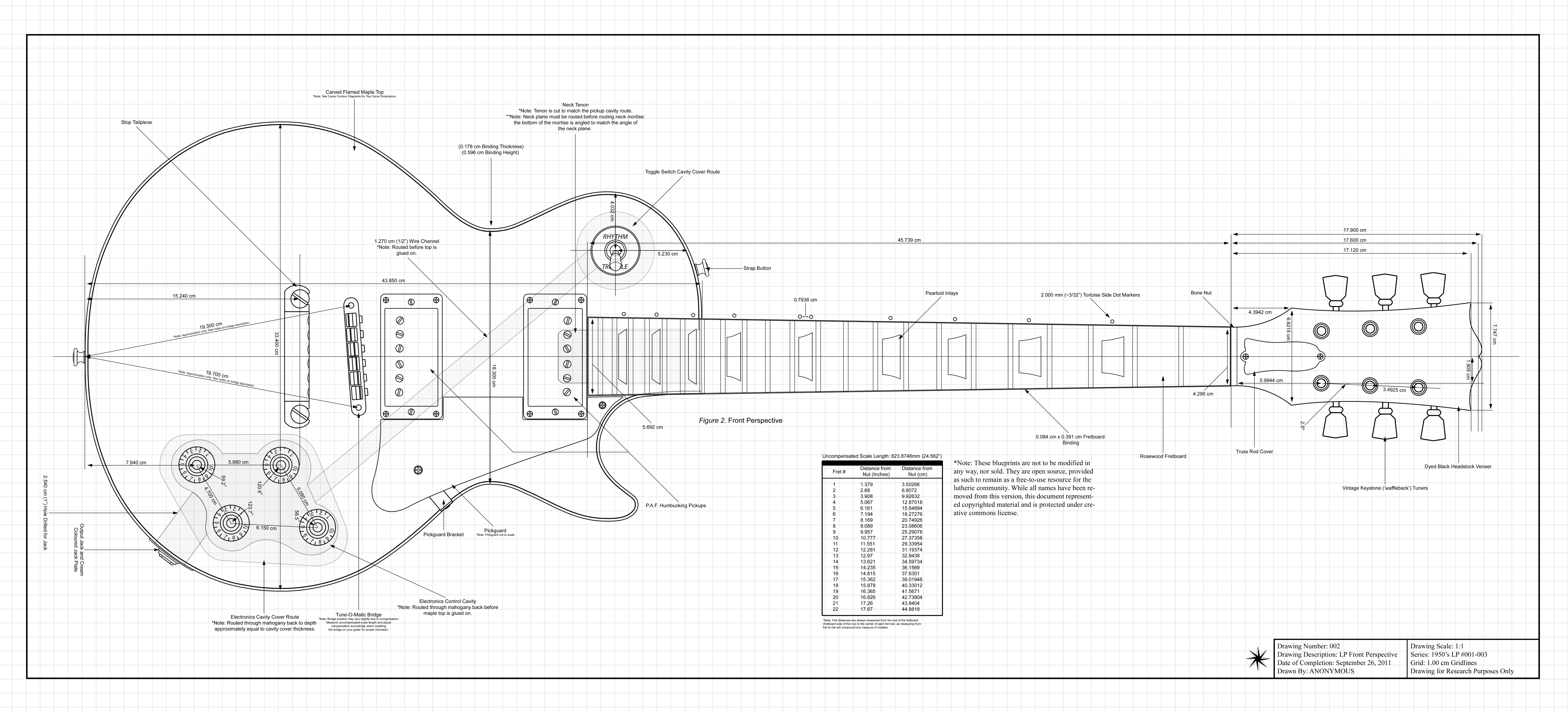 Gibson Les Paul Dimensions 66003000 Guitar Kits Building And Wiring Diagram For