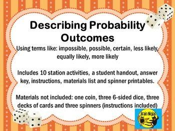 describing probability outcomes task cards school ideas math probability games math work. Black Bedroom Furniture Sets. Home Design Ideas