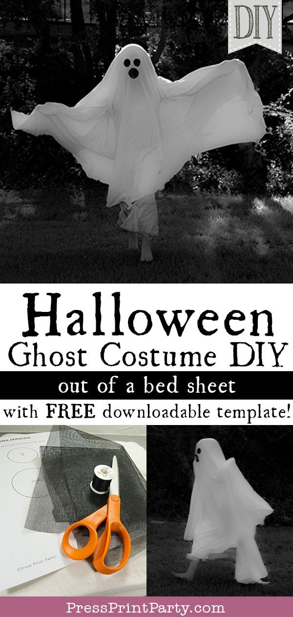 EASY HALLOWEEN GHOST COSTUME DIY - How to Make this simple ghost costume for your kids out of a bed sheet. Homemade ghost costume with FREE downloadable template for eyes and mouth. Step by step tutorial - Fun for children or adults. Make the best out of your Halloween party. Awesome for a last minute costume. #halloween #costume #ghost # DIY by Press Print Party! #deguisementfantomeenfant