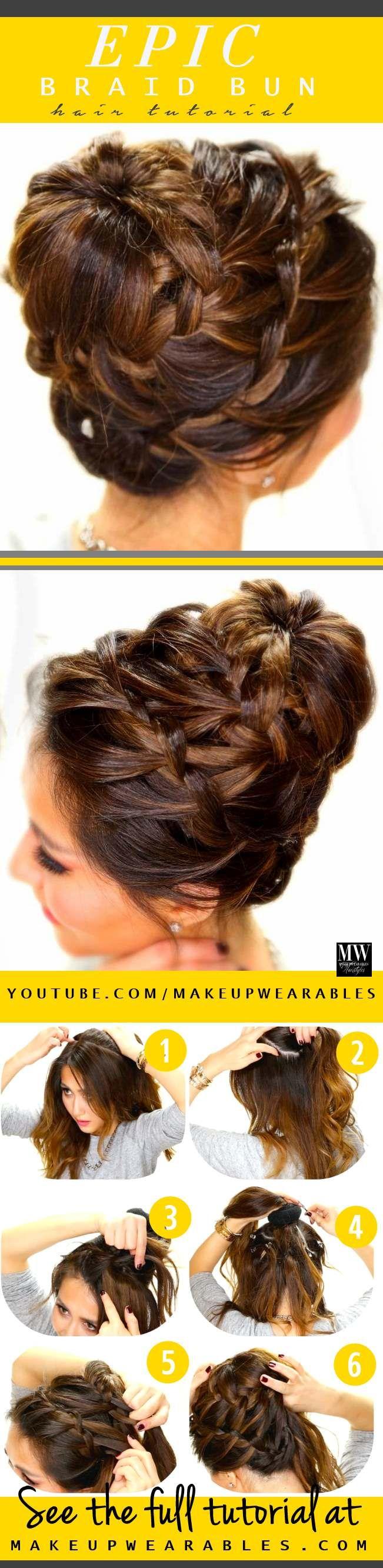 How to do a cute braided bun updo hairstyle for medium long hair