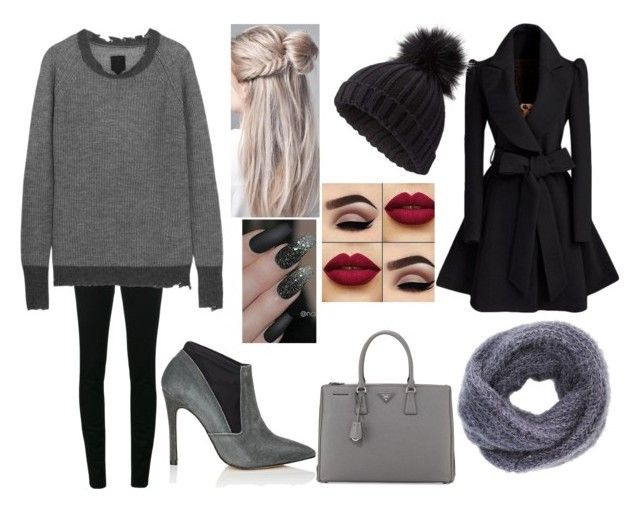 """""""Shades of Gray"""" by fashion-1993 on Polyvore featuring Yves Saint Laurent, RtA, Charlotte Russe, Miss Selfridge, Prada, Barneys New York, casual, black, gray and 2018"""