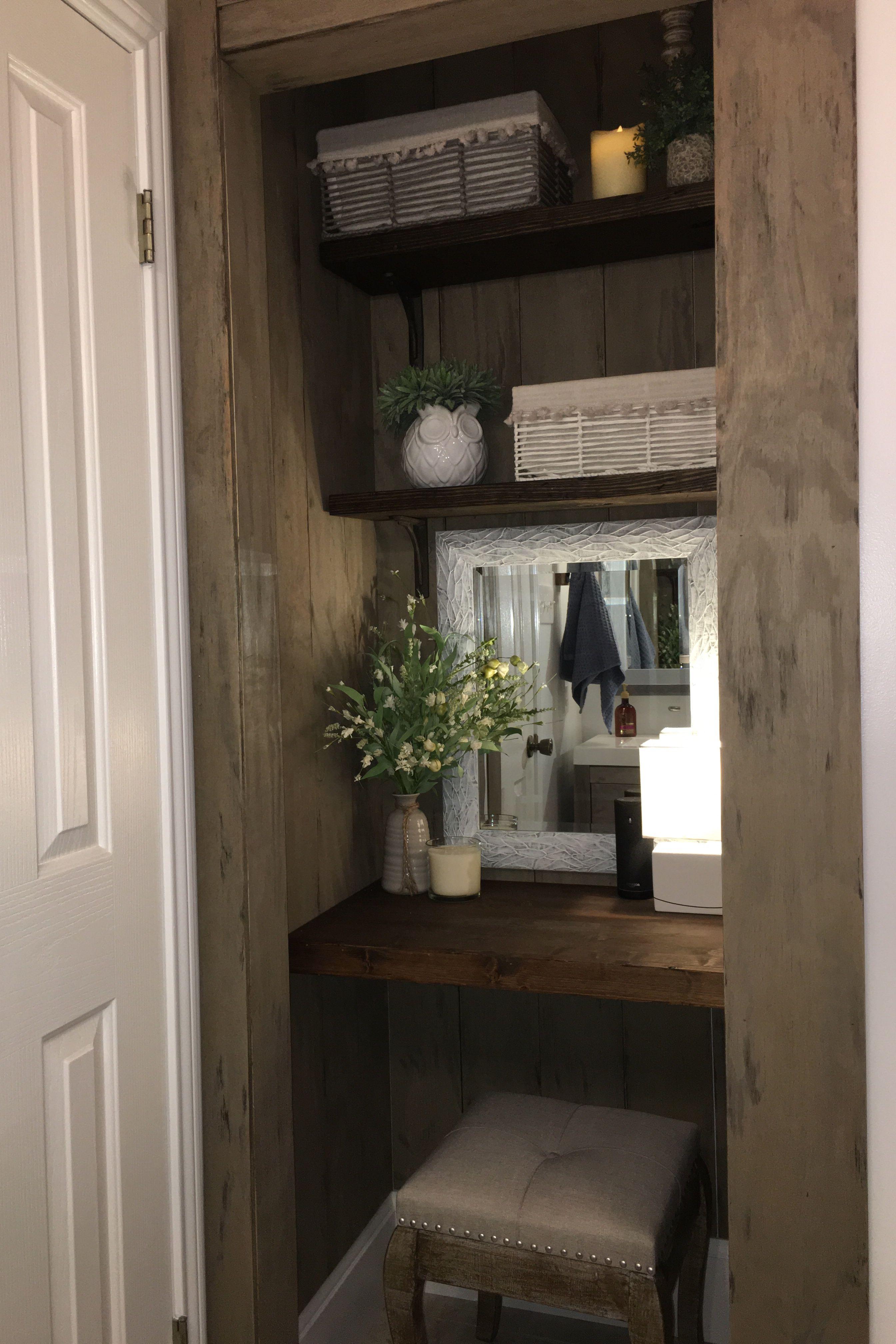 Turn an awkward linen closet into an adorable vanity space