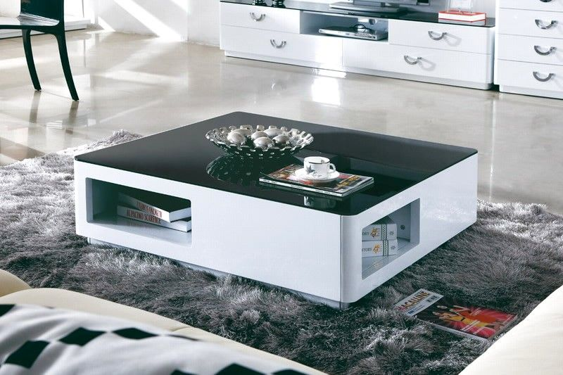 Buy Orion Square High Gloss White Coffee Table With Black Top