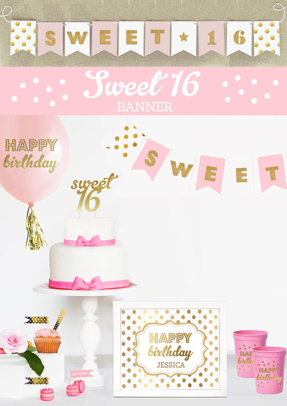 Sweet 16 Banner Sweet 16 Party Decorations Sweet 16 Party Decor Ideas Sweet Sixt Princess Party Decorations Birthday Party Banner Birthday Picture Banner