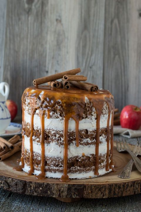 The best Thanksgiving desert - Apple Spice Cake With Caramel Drizzle