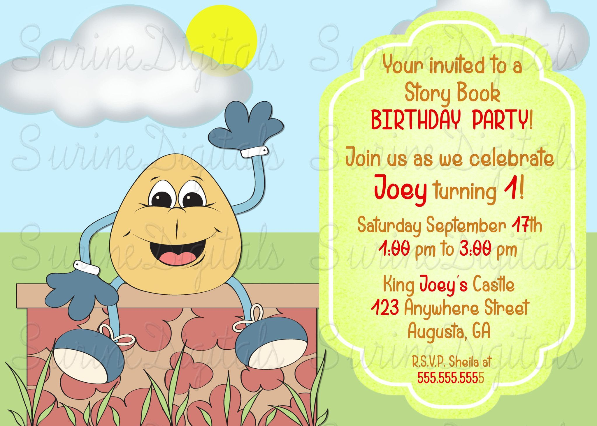 Humpty Dumpty Sat On a Wall Nursery Rhyme Party Invitation/ Child\'s ...