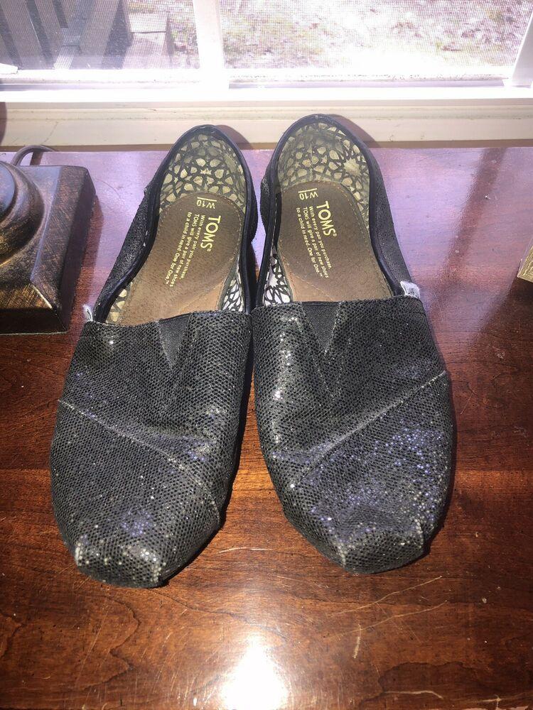 TOMS Women's Black Sparkle Slip On Flats Size 10. fashion