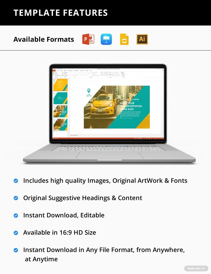 Taxi Services Presentation Template Pdf Word Apple Pages Google Docs Powerpoint Apple Keynote Presentation Templates Leaflet Template Pamphlet Template