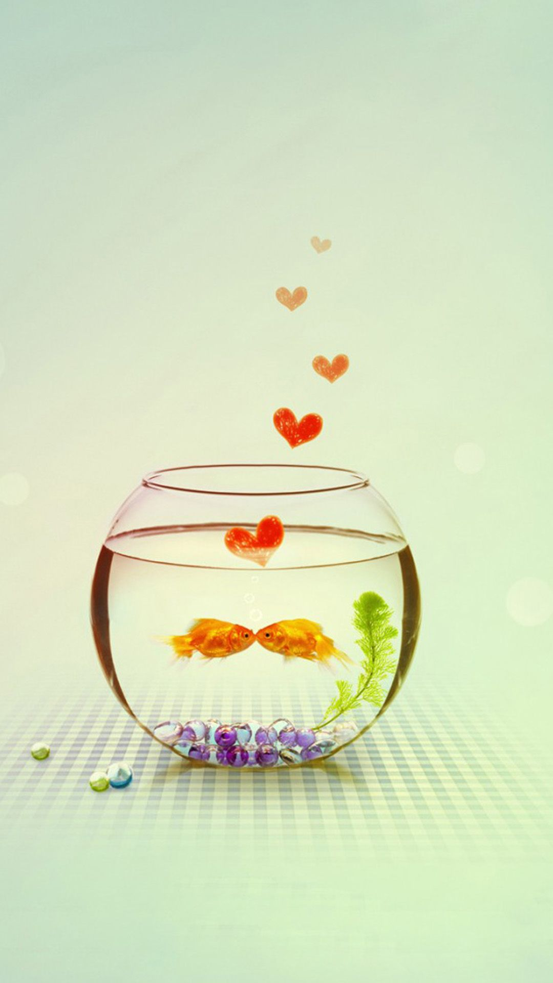 Wallpaper iphone cute love - Kissing Love Fish Couple In Aquarium Iphone 7 Wallpaper
