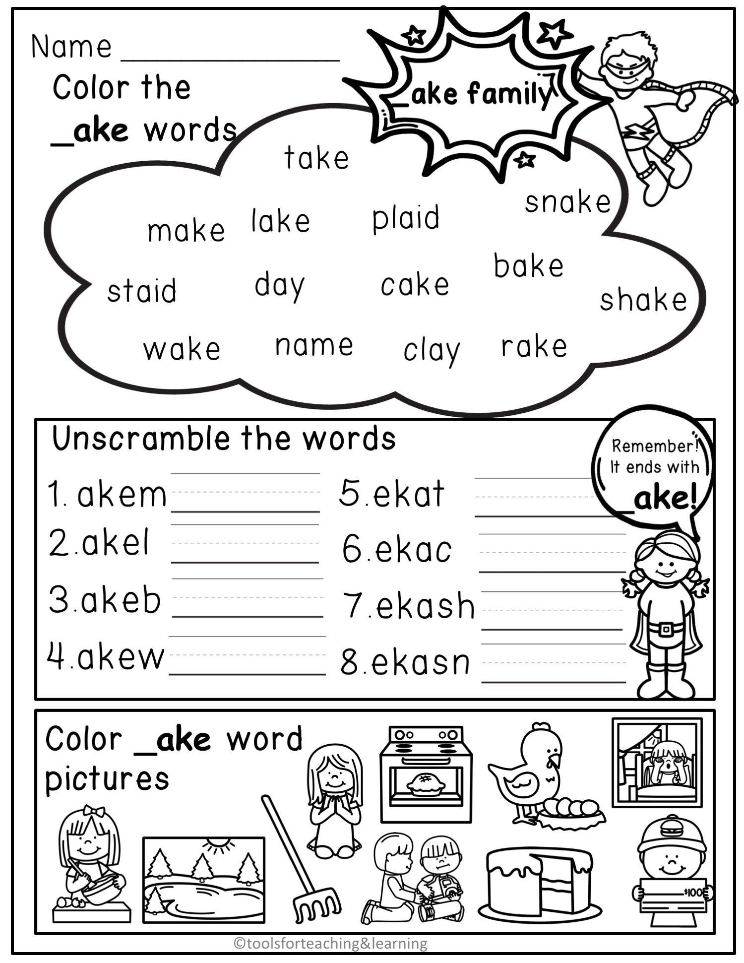 Long Vowels Word Families Worksheets