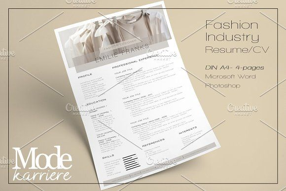 Resume Template Fashion Industry by Modekarriere on