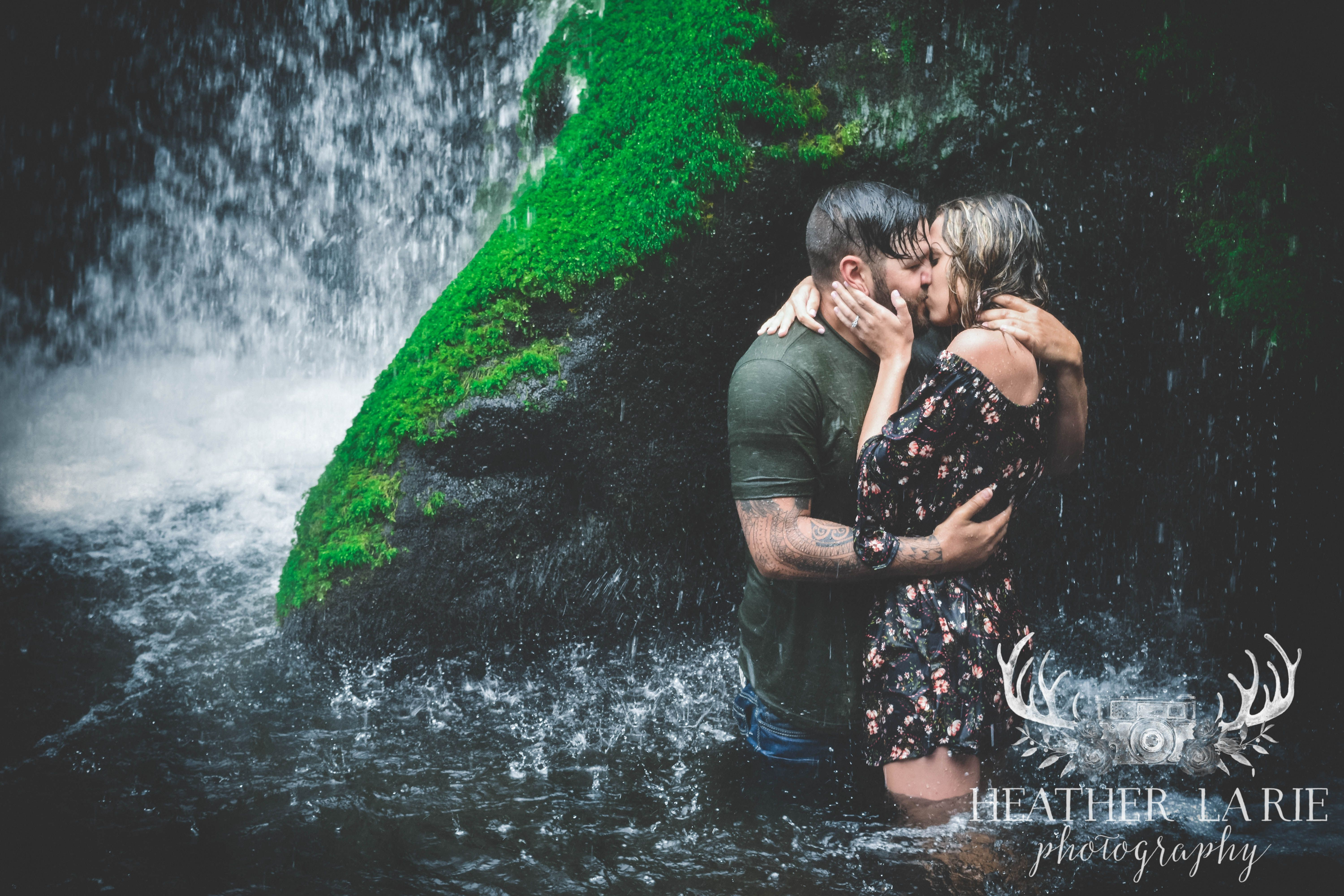 Romantic Dreamy Couple hot Engagement Session Waterfall