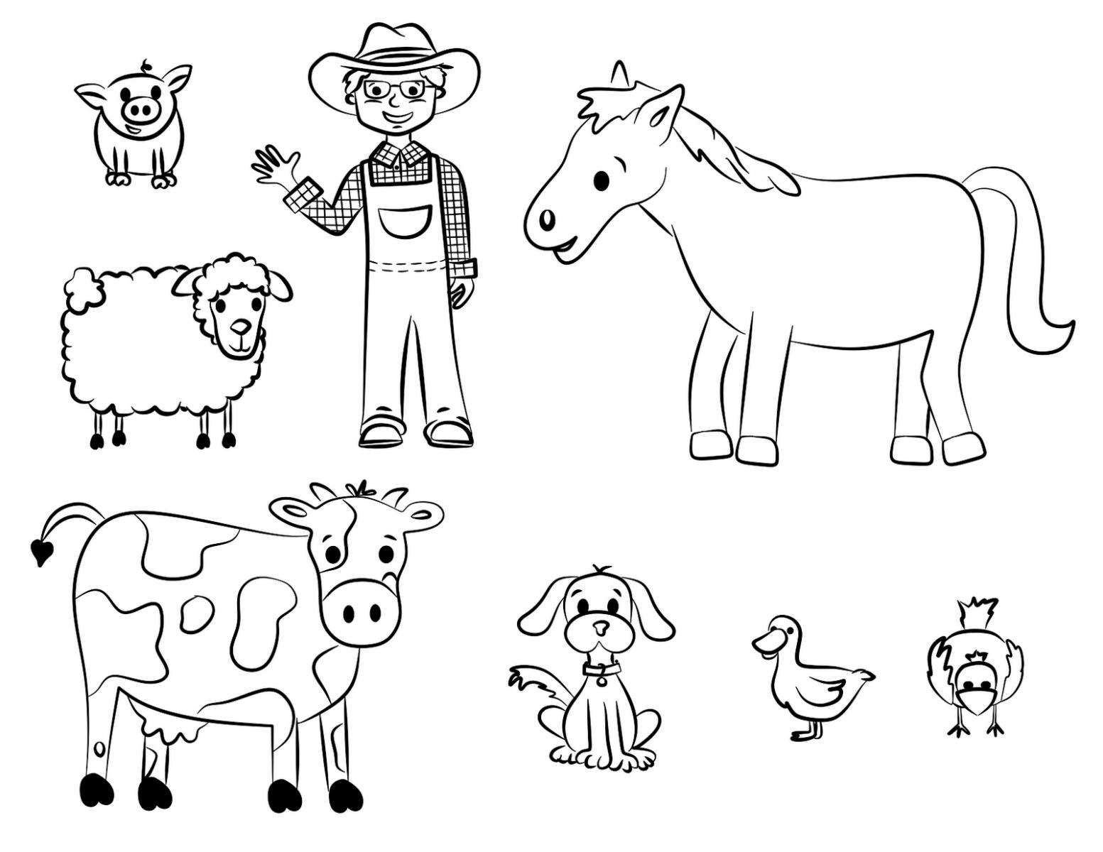 Fantástico Páginas Para Colorear De Animales De Granja Para Niños En ...
