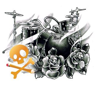 Clock Tattoo Skull With Eagle Head Gypsy Drum Kit Music Forever Half Sleeve Perfect And Hand T