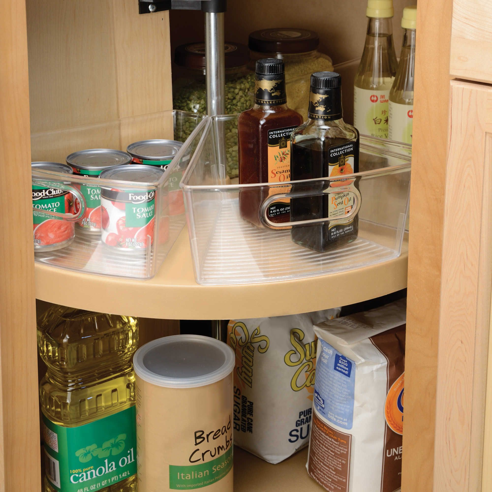 The durable clear plastic Cabinet Binz Lazy Susan Storage Bin from