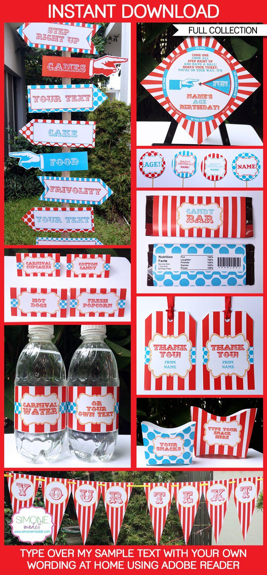 Circus Party Printables Invitations & Decorations – red & aqua